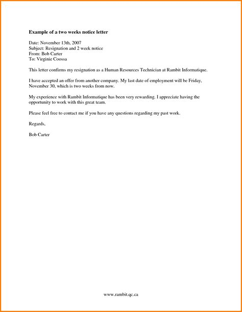how to write a two week notice how to write a notice of resignation email notice letter 4