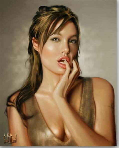 pinturas al oleo de rostros pinturas al oleo de angelina jolie pinturas pinterest