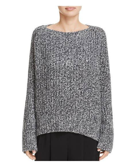 vince boatneck pullover cashmere sweater lyst vince marled wool cashmere boatneck sweater in gray