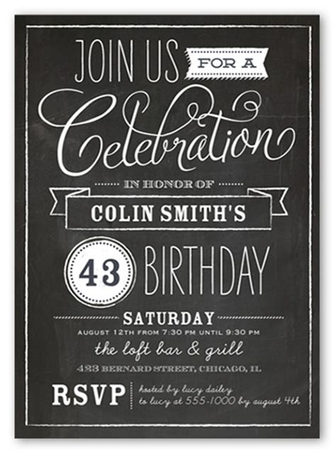 chalkboard wishes 5x7 invitation card birthday party