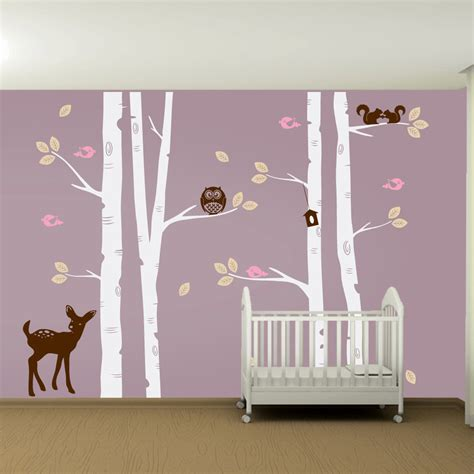 Kids Nursery Birch Tree Wall Decal Set Owl Deer Fawn Birds Nursery Wall Decal