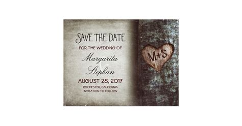 save the date cards template rustic tree save the date postcards zazzle