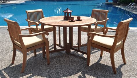 teak patio dining set wholesaleteak 5 teak dining set with 48 inch folding