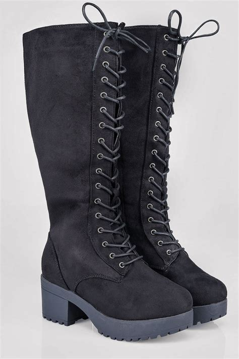 Lace Up Boots black knee high lace up heeled boot in eee fit 4eee 5eee