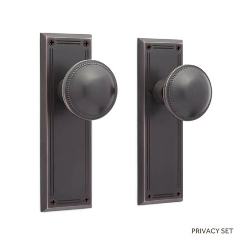 Privacy Knob Set maxence mission door plate and small bead knob set