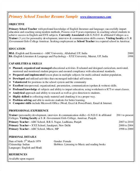 free sle resume for primary teachers in india sle resume primary india