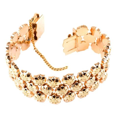 Camile Floral Link Bracelet by Retro Gold Floral Link Bracelet For Sale At 1stdibs