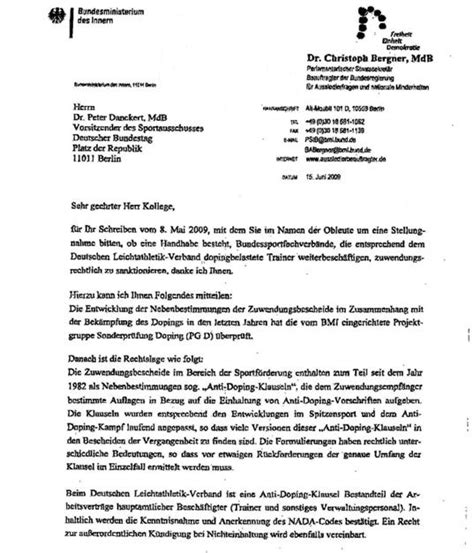 Offizieller Brief Layout Die Verbal Salti Des Christoph Bergner Sport Politics