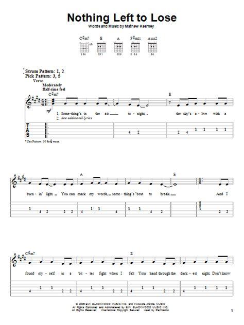 Mat Kearney Nothing Left To Lose Lyrics by Nothing Left To Lose By Mat Kearney Easy Guitar Tab