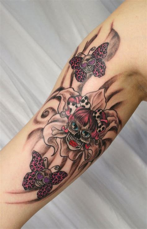 girly butterfly skull tattoos