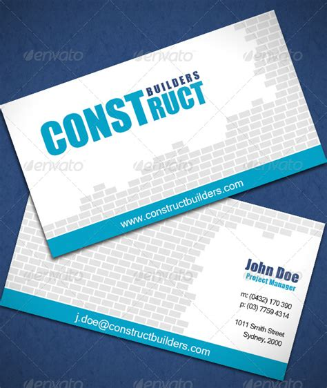 Construction Business Card Template Photoshop by Construction Business Card Graphicriver