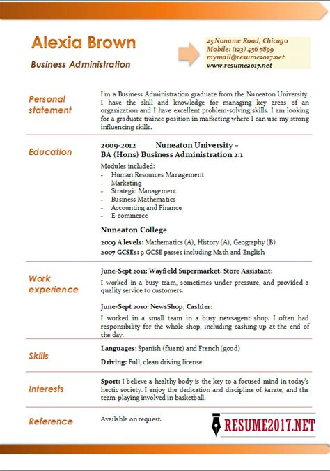 business resume format 2012 business administration resume exles 2017