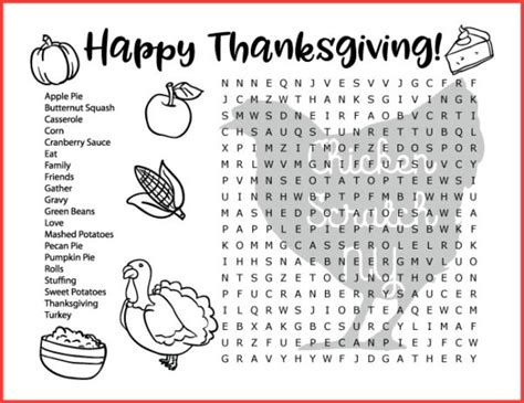 fall thanksgiving word search