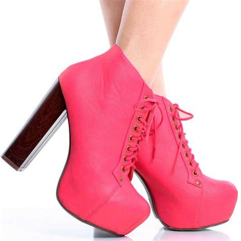 pink lace up designer inspired chunky heel platform