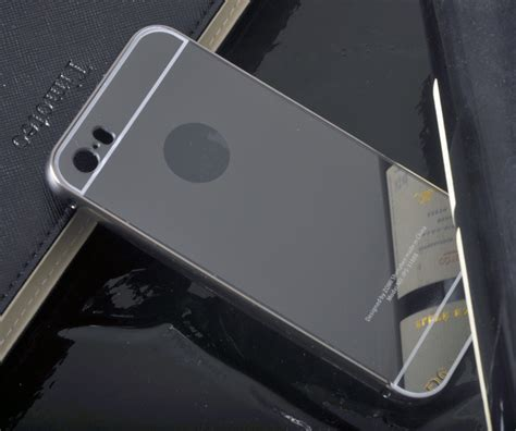 Aluminum Bumper With Mirror Back Cover For Iphone 6 Plus Black newest ultra thin mirror back cover aluminum bumper for apple iphone 5 5s cover frame