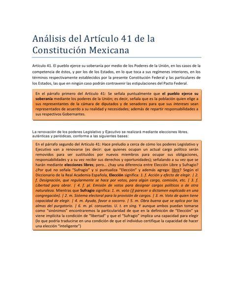 articulo de la constitucion que habla de los derechos analisis del articulo 41 de la constitucion mexicana