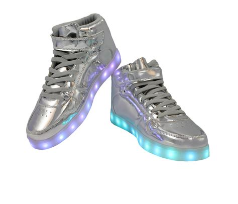 Shoes Glossy Led galaxy led shoes high top light up sneakers for silver glossy back to the future products