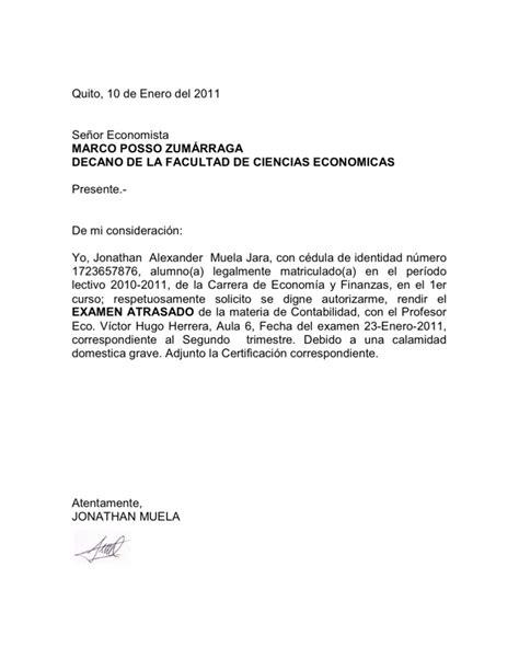 carta de solicitud examen ejemplo de solicitud