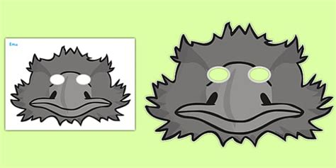 emu mask template printable emu role play masks