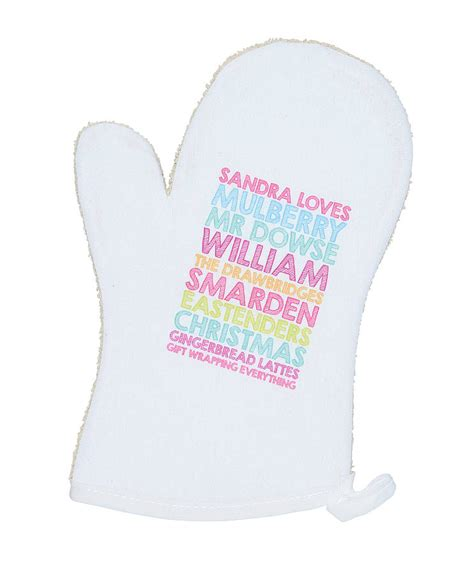 personalised oven glove by pickle pie gifts