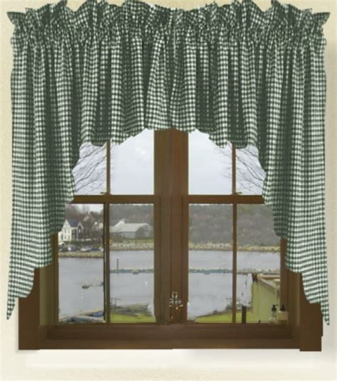 green swag curtains hunter green gingham check scalloped window swag valance set
