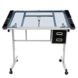 Where Can I Buy A Drafting Table Go2buy Adjustable Drafting Drawing Table Rolling Drafting Desk Tempered Glass Top W
