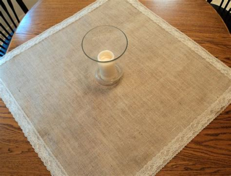 choose your size square burlap and lace table overlays