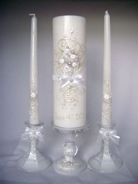 Unity Candle by Wedding Unity Candle Set In White Grey And Blush