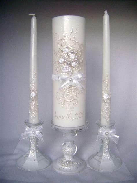 wedding candles wedding unity candle set in white grey and blush