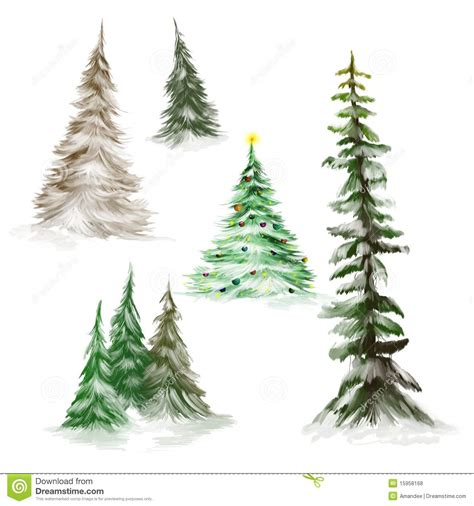 winter woods watercolor clip pine trees snow log cabin watercolor background pine trees and trees stock illustration illustration of card 15958168
