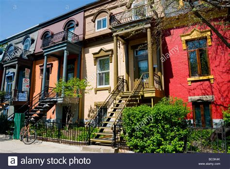 buy house montreal plateau mont royal colorful houses montreal stock photo royalty free image 24667123