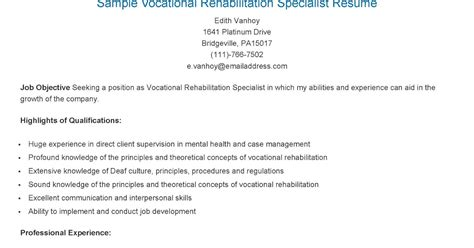 Vocational Rehabilitation Specialist by Resume Sles Sle Vocational Rehabilitation Specialist Resume
