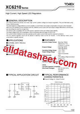 transistor a102 datasheet xc6210a102dl 데이터시트 pdf torex semiconductor