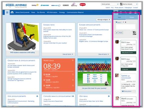 10 exles of bringing social onto the intranet homepage