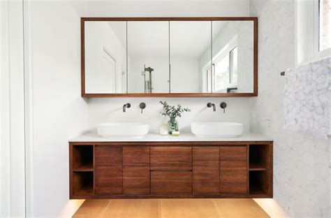 stained tasmanian oak timber vanities  matching shaving cabinets   place blog