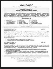 General Objective For A Resume by General Contractor Resume Objective Exles Resumes Design