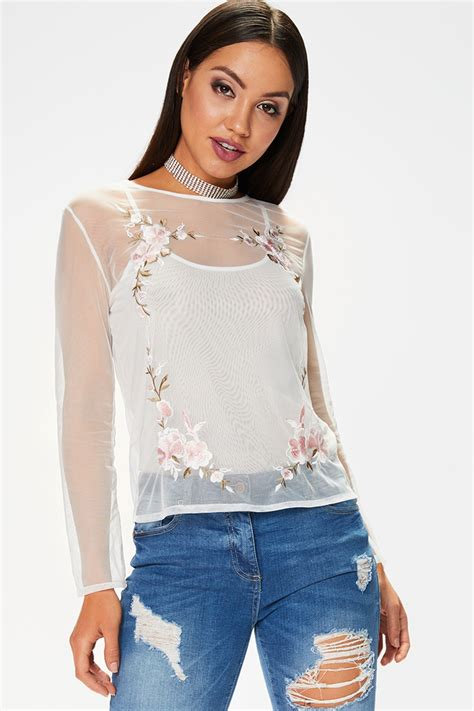 Mesh Top joanna white mesh embroidered top