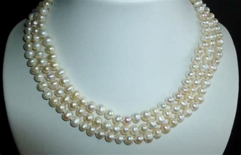 Three String Choker 3 string freshwater pearl necklace