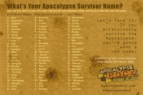 name maker name generator apocalypse rock