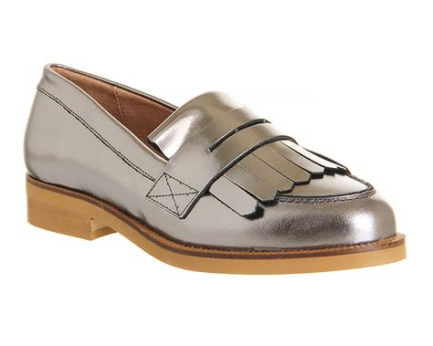 silver loafer womens office verse fringed loafer silver metallic leather