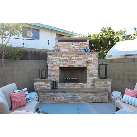 straight modern fireplace w stacked stone outdoor