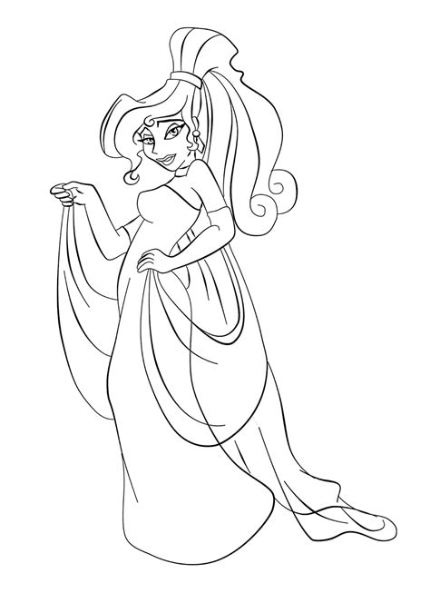 Paola Tosca Art Disney Crossover Linearts Megara Coloring Pages