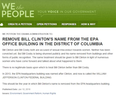 bill clinton s name sign white house petition to remove bill clinton s name
