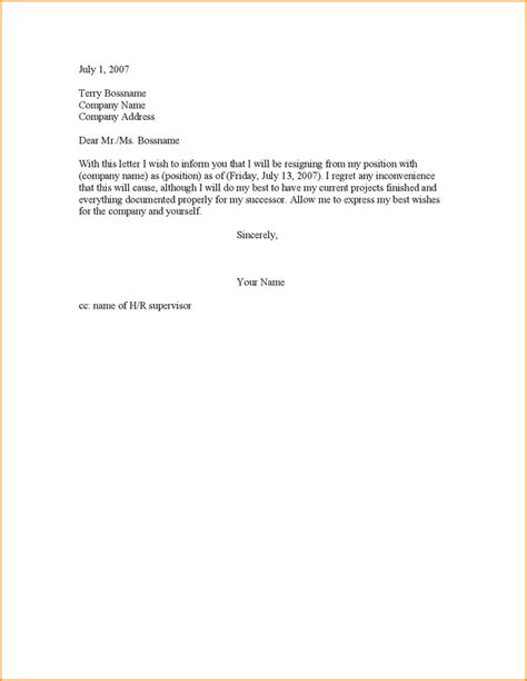 Basic Resignation Letter Two Weeks Notice 6 2 Weeks Notice Resignation Letter Sle Basic Appication Letter