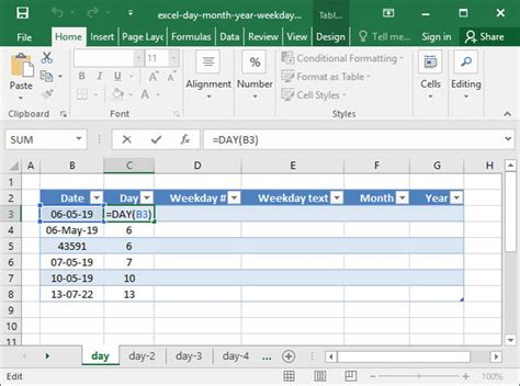 S Day Function Day Month Year And Weekday In Excel Deskbright