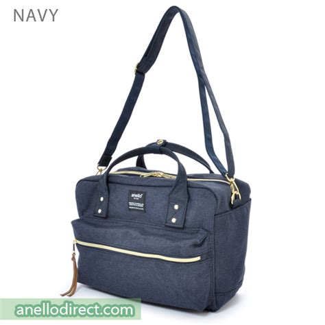 Shoulder Bag Polyester Button Navy anello polyester canvas square 2 way shoulder bag regular size at c1224