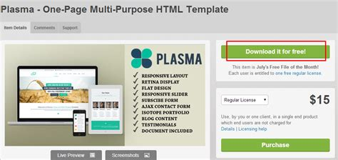 themeforest one page html download free themeforest theme plasma one page multi