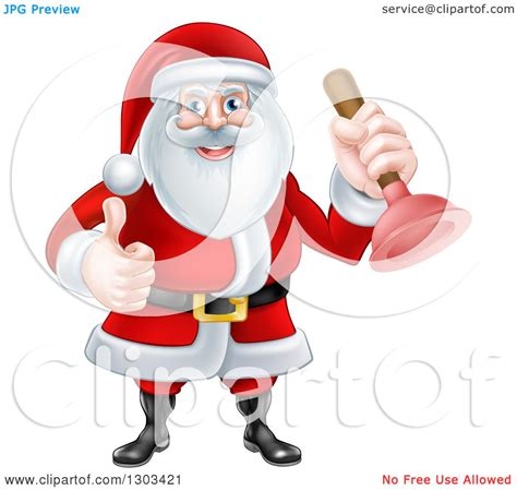 Santa Plumbing by Clipart Of A Happy Santa Claus Plumber Holding A