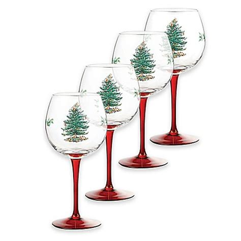 buy spode 174 christmas tree wine glasses in red set of 4