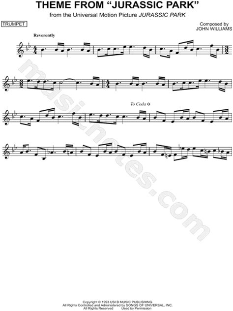 theme music to jurassic park print and download theme from jurassic park sheet music